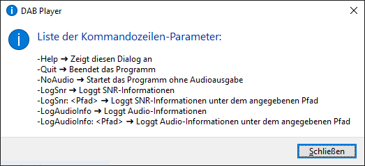 """hidden"" option dialogue, start the DAB_player with -help"